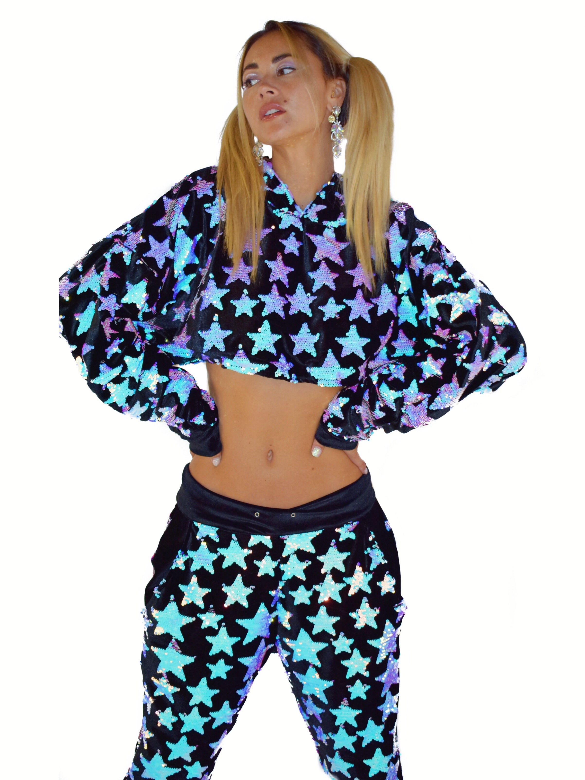Cropped Baby I'm a Star Black Hoodie