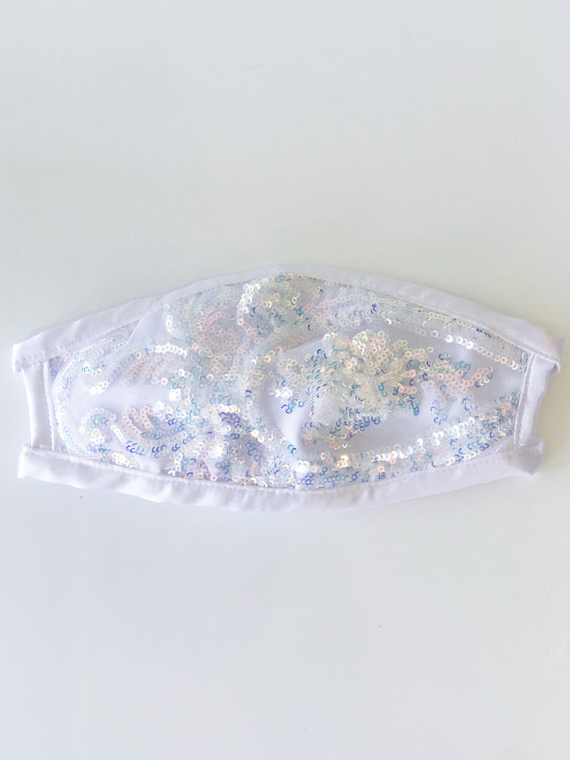White Sequin Face Mask