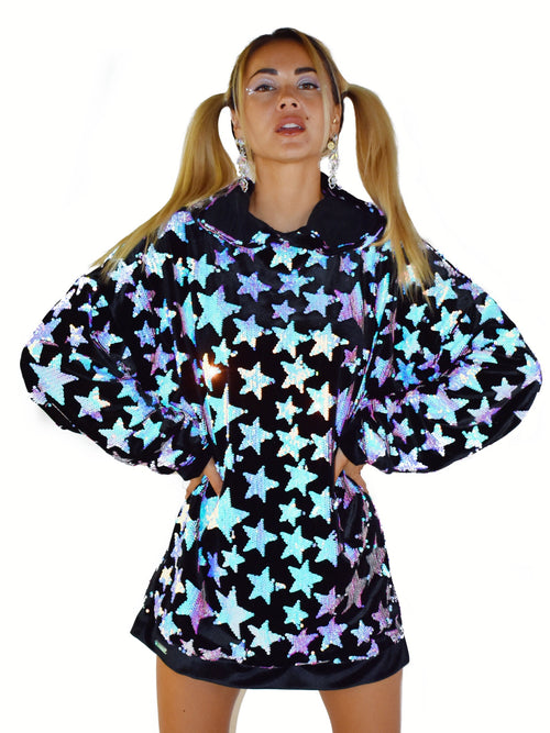 Baby I'm a Star Black Oversized Hoodie