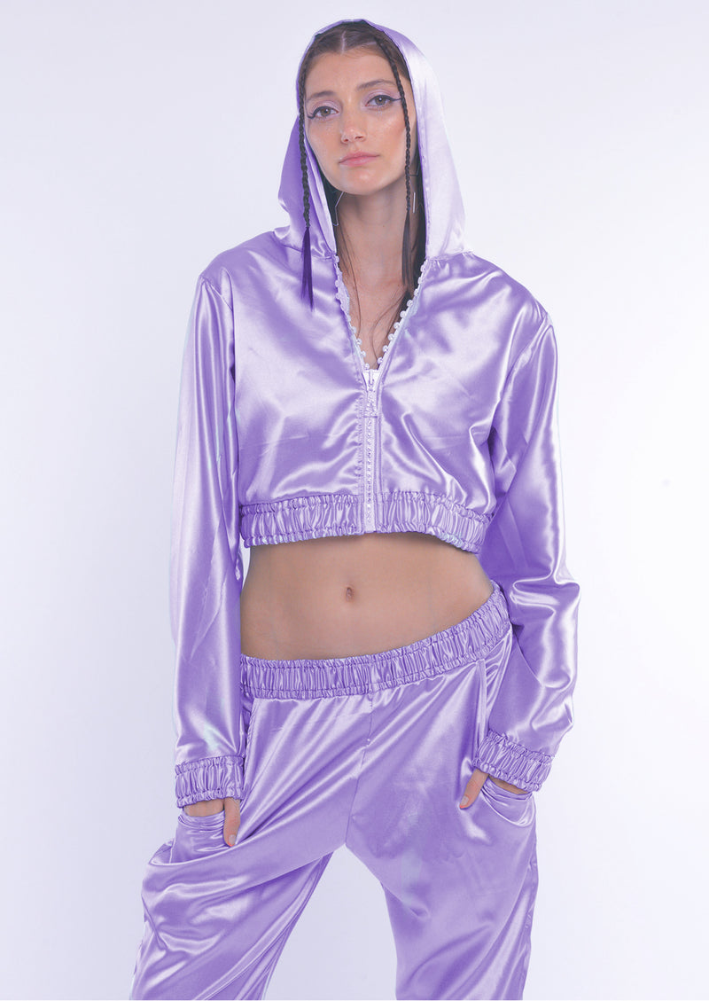 Lilac Silky Zip-up Jacket