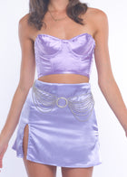Lilac Silky Mini Skirt
