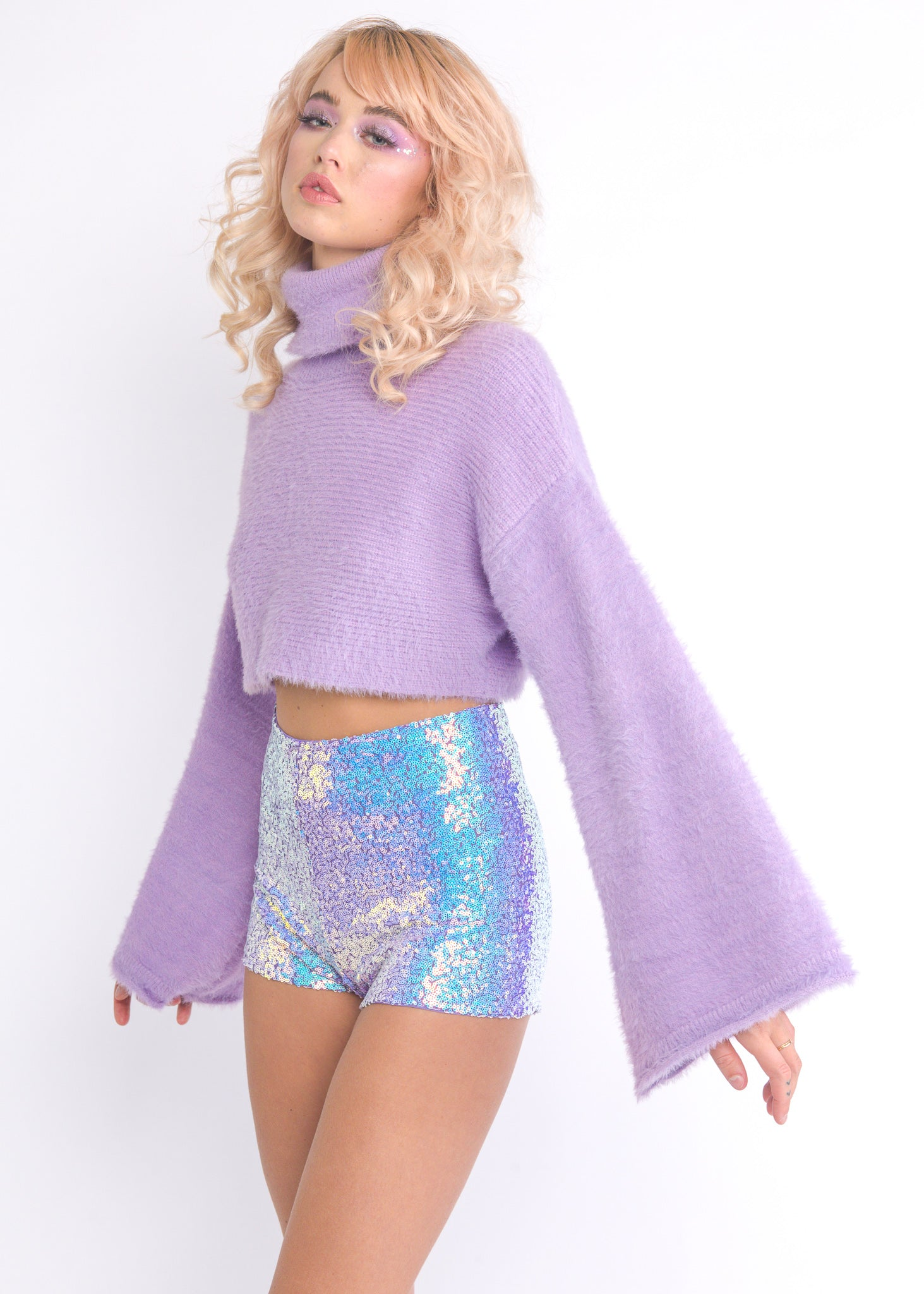 Lilac Iridescent Shorts