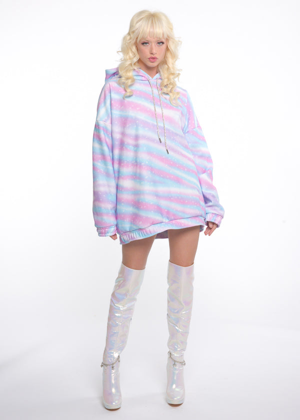 Bossy Oversized Pastel Holo Hoodie