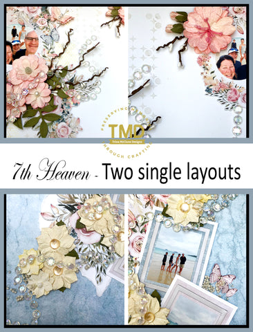 7th Heaven - 2 single layouts - all inclusive scrapbook kit