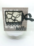 Chipboard tags with beautiful patterns inside designed by TMD for card making