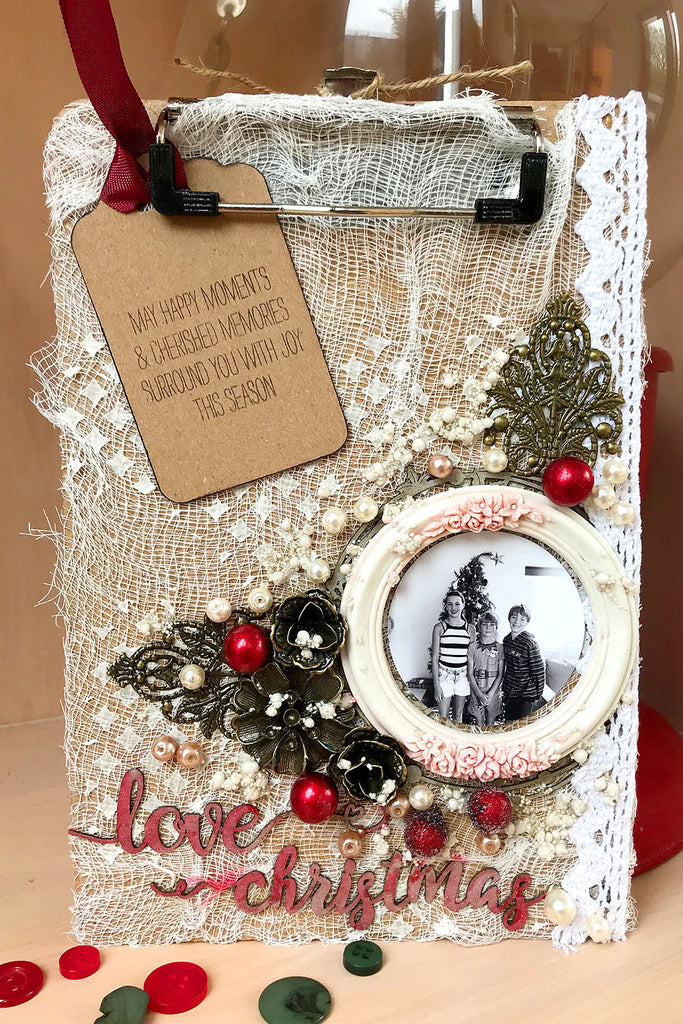make your own christmas clipboard decoration