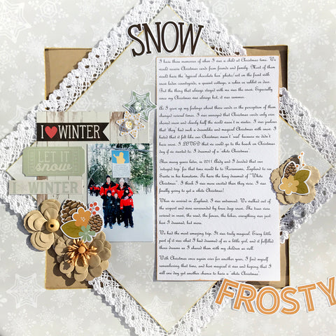 Three single layouts in one amazing scrapbook kit - Winter Wonderland - Simple stories, Prima