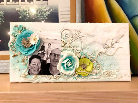 A mixed media family canvas - create for your home or as a gift.