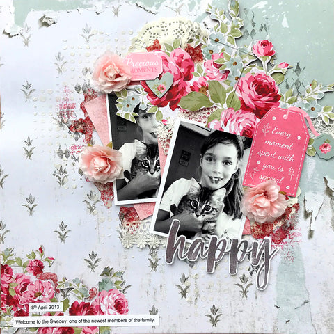 Scrapbook layout kit creating two single layouts - Happy