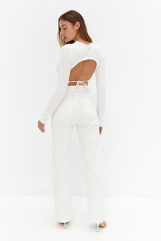 Scoop Ribbed Crop - White
