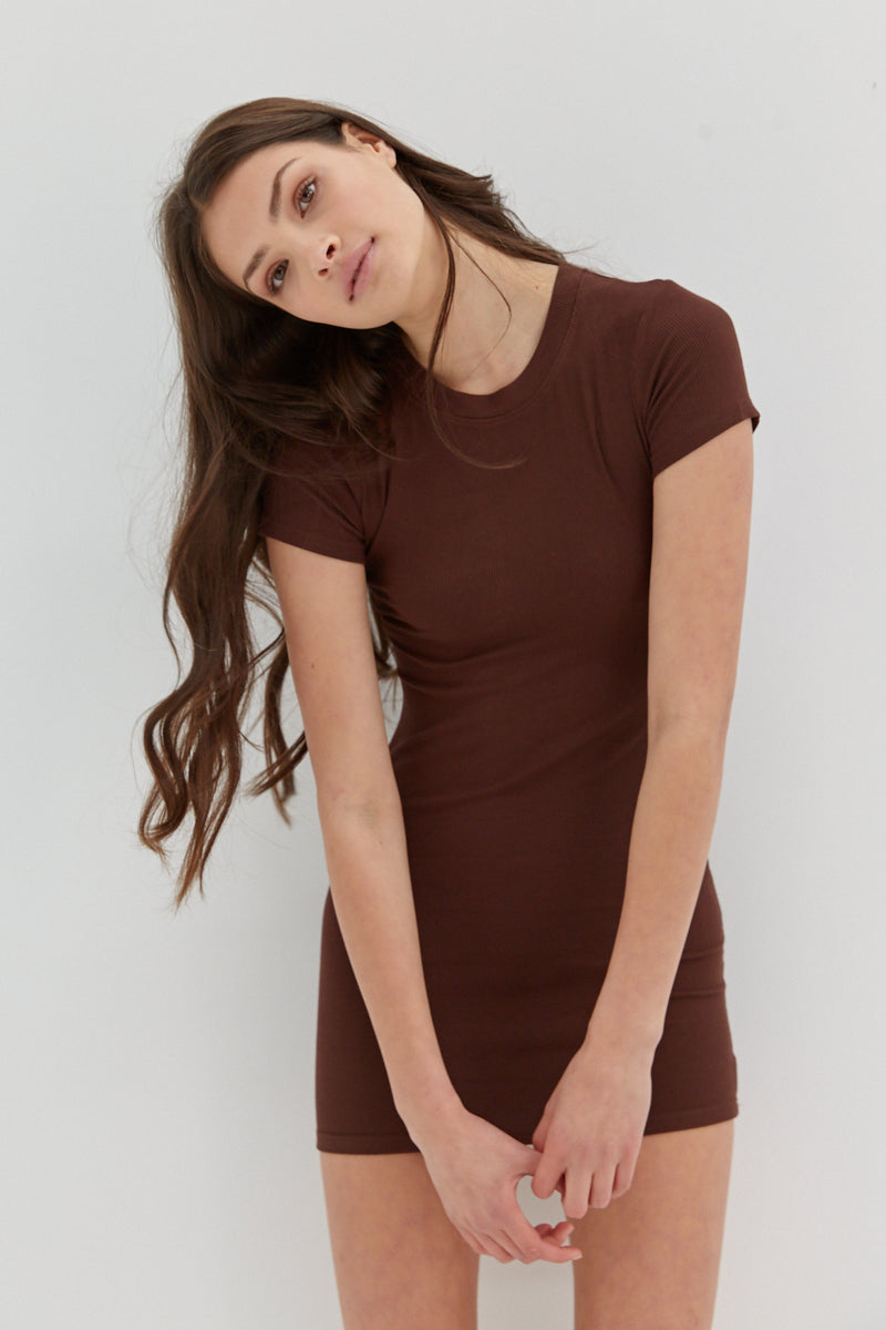 Baby Ribbed Knit Dress - Chocolate