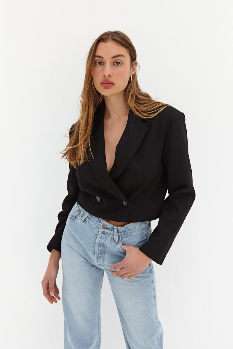 Claudia Crop Blazer - Black