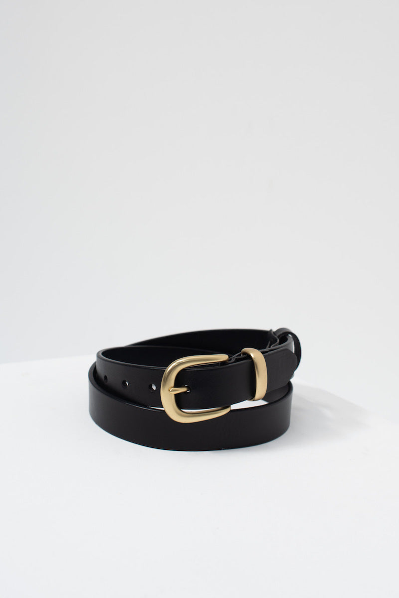 Leather Buckle Belt - Gold