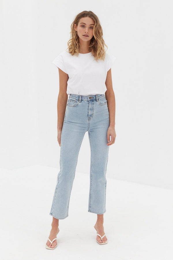 CORE High Rise Ankle Flare Jeans - True Blue