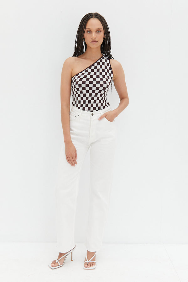 One Shoulder Bodysuit - Cocoa Check