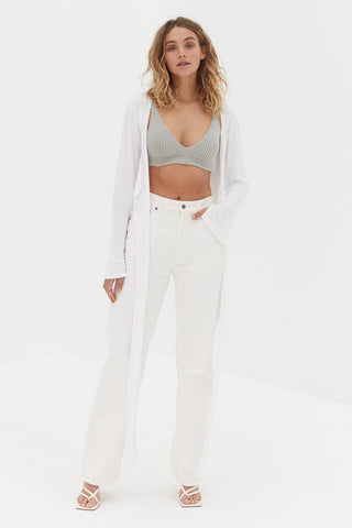 Long Sleeve Button Bodysuit - White