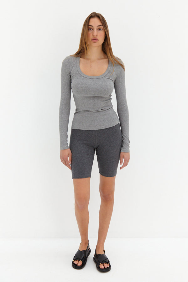 Scoop Ribbed Top - Grey