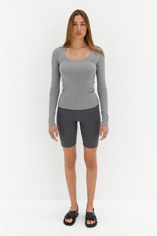 Long Sleeve Ribbed Top - Black