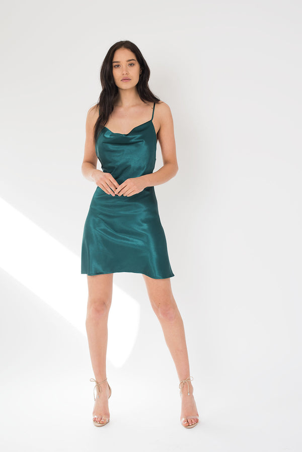 PRE ORDER Katerina Mini Dress - Emerald - Style Addict