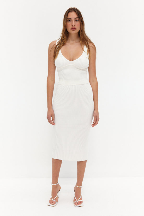 Knit Ribbed Midi Skirt - White