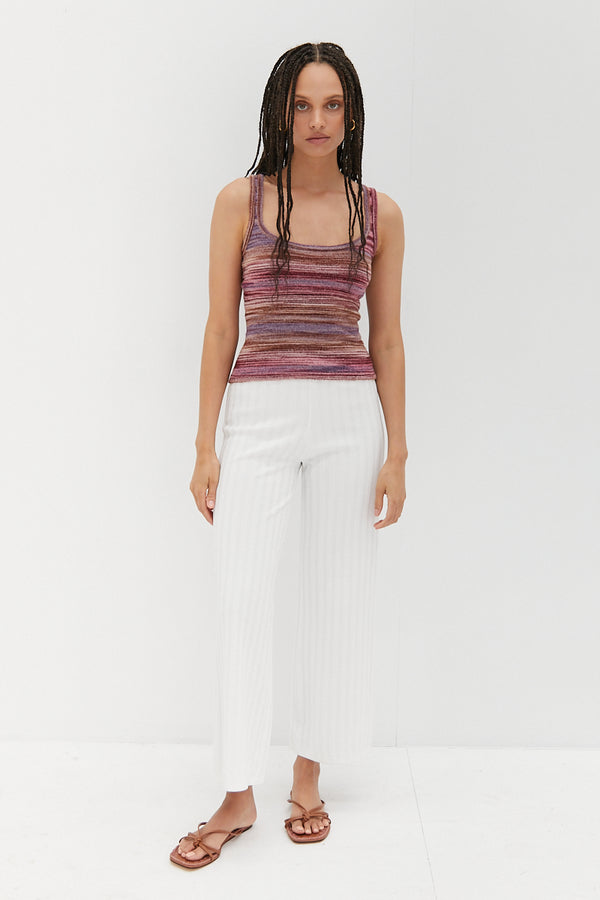 Wide Scoop Knit Tank - Candy
