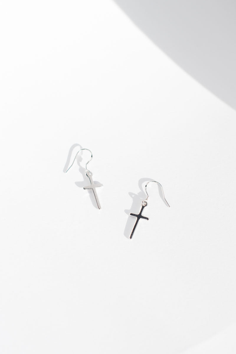 Kei Cross Earrings - Silver - Style Addict