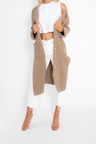 Long Knit Cardi - Baby Blue