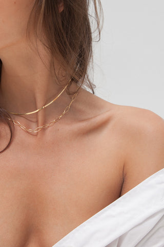 Bar & Circle Chain Necklace - Gold Plated