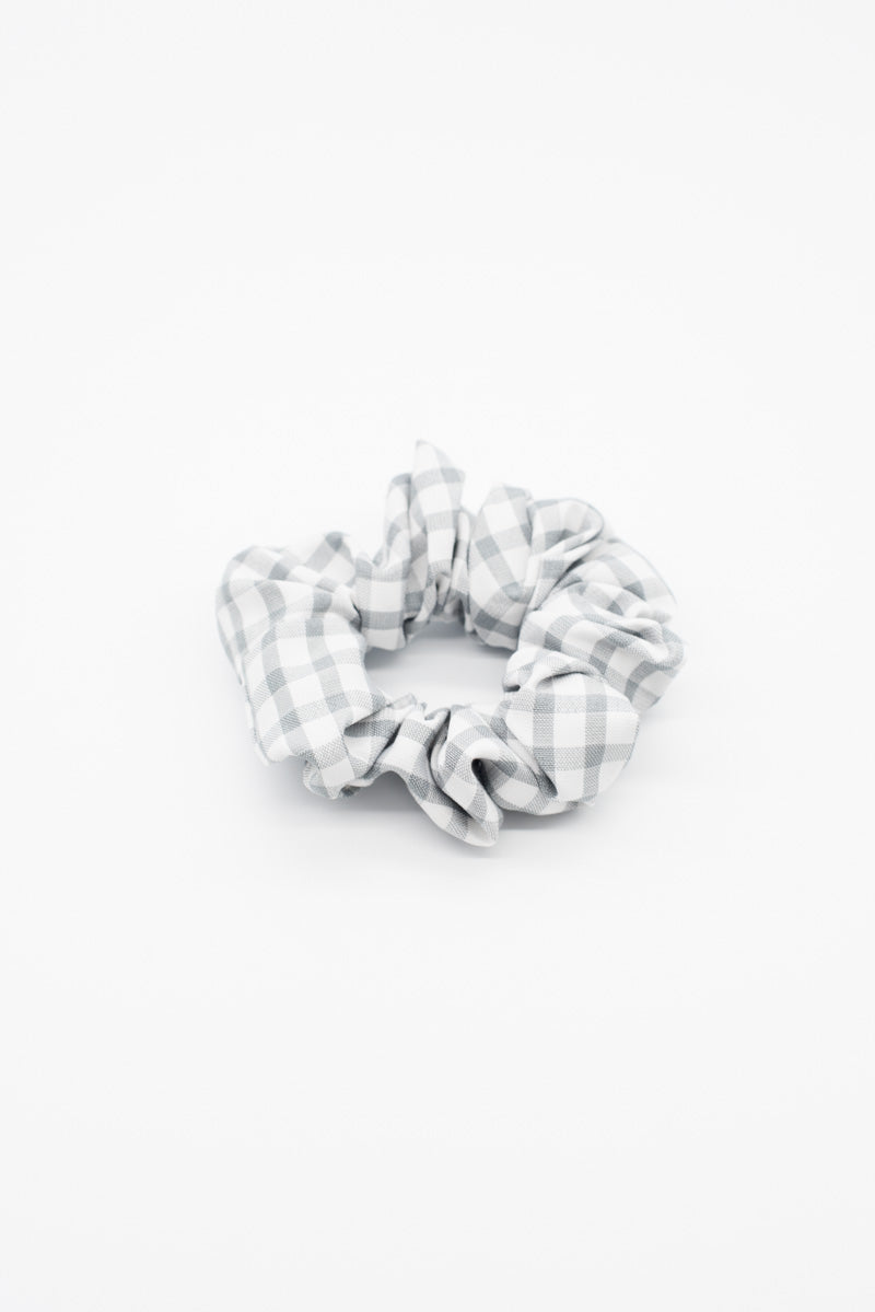 Grey Gingham Scrunchie