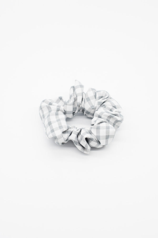 Grey Gingham Scrunchie / OUTLET