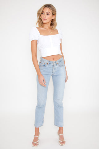 Ribbed Knit Tube Top - White / OUTLET