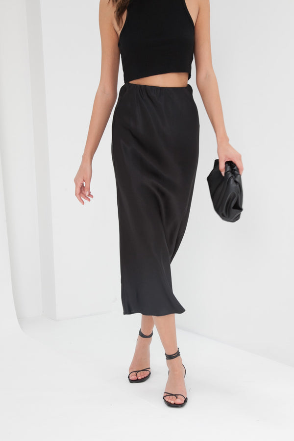 Madeline Silk Skirt - Black