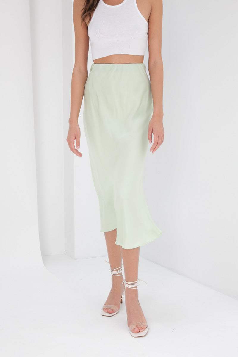 Madeline Silk Skirt - Lime