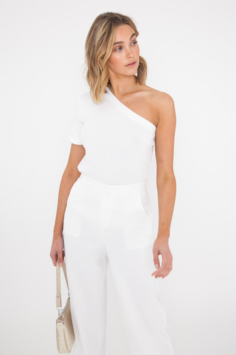 One Shoulder Tee - White