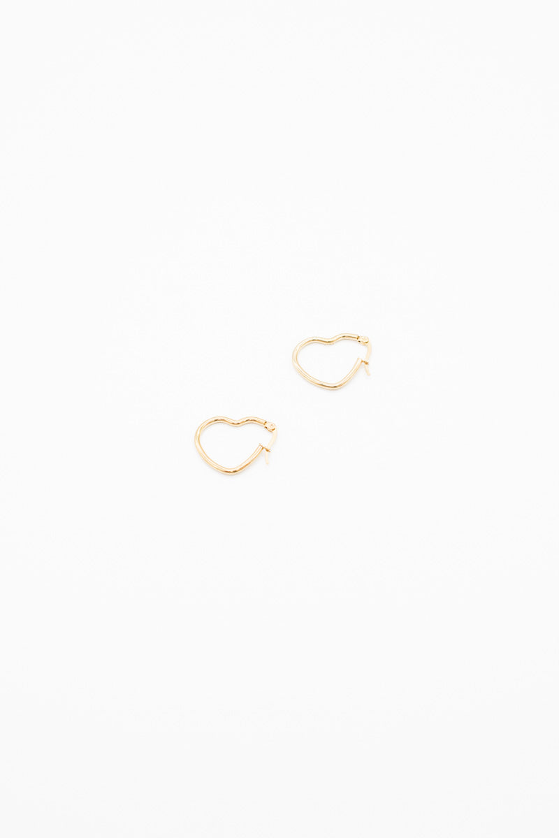 Mini Heart Earrings - Gold Plated