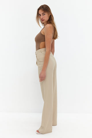 Front Split Trouser Pants - Dark Tan