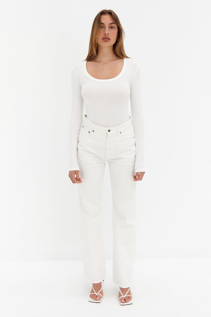 Scoop Ribbed Top - White