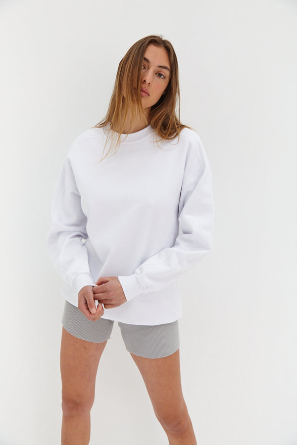 Slouchy Oversized Jumper - White