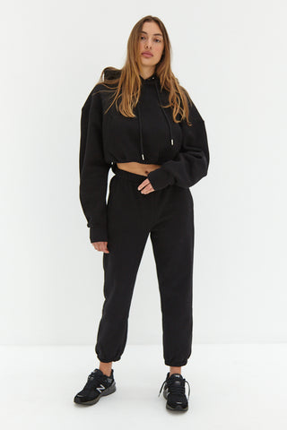 Mock Neck Crop - Black