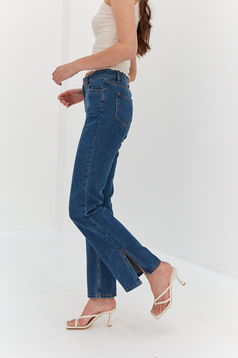 Side Slit Jeans - Denim