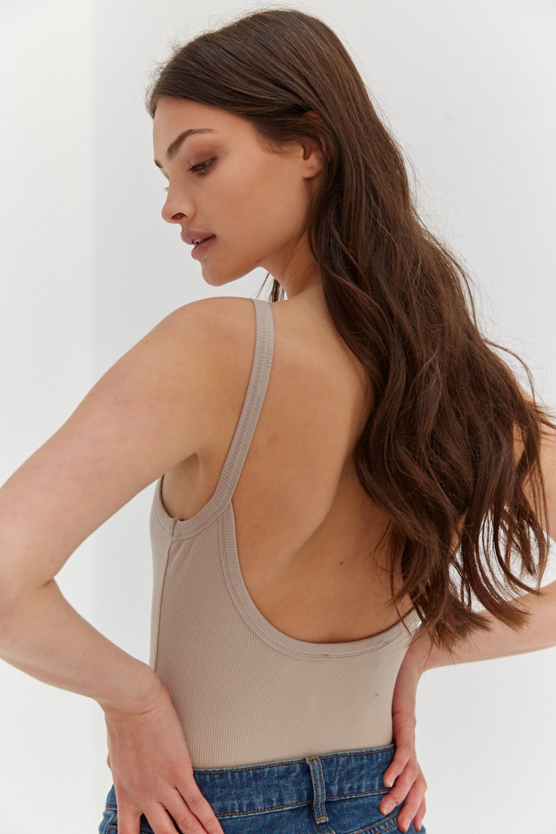 Scoop Back Bodysuit - Tan