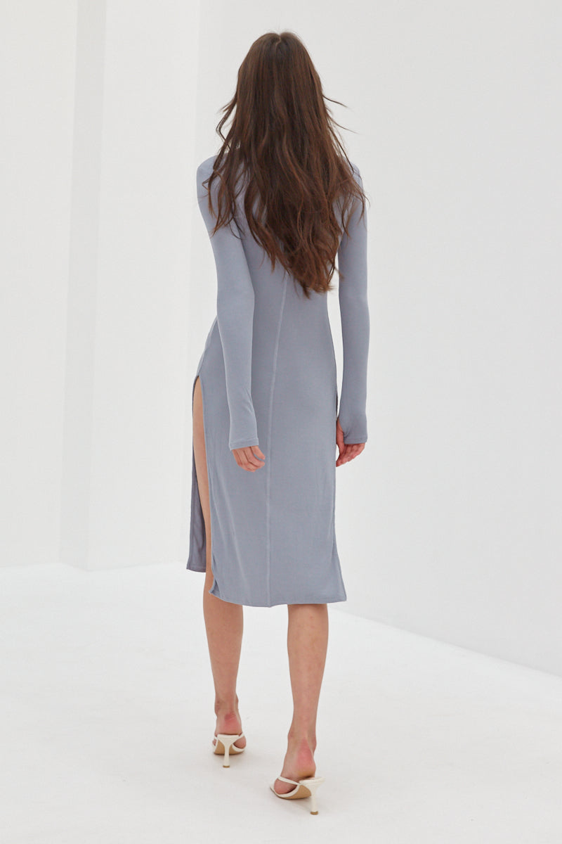Long Sleeve Split Ribbed Dress - Baby Blue