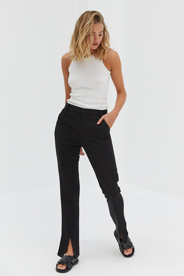 Front Split Trouser Pants - Black