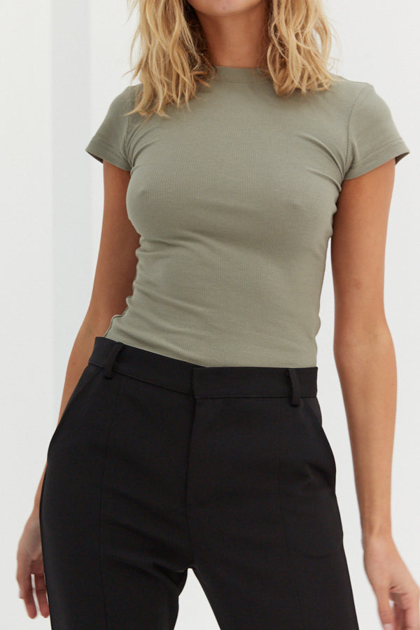 Baby Ribbed Top - Khaki