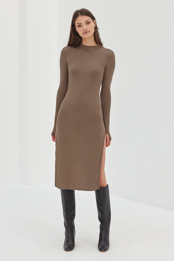 Long Sleeve Split Ribbed Dress - Taupe