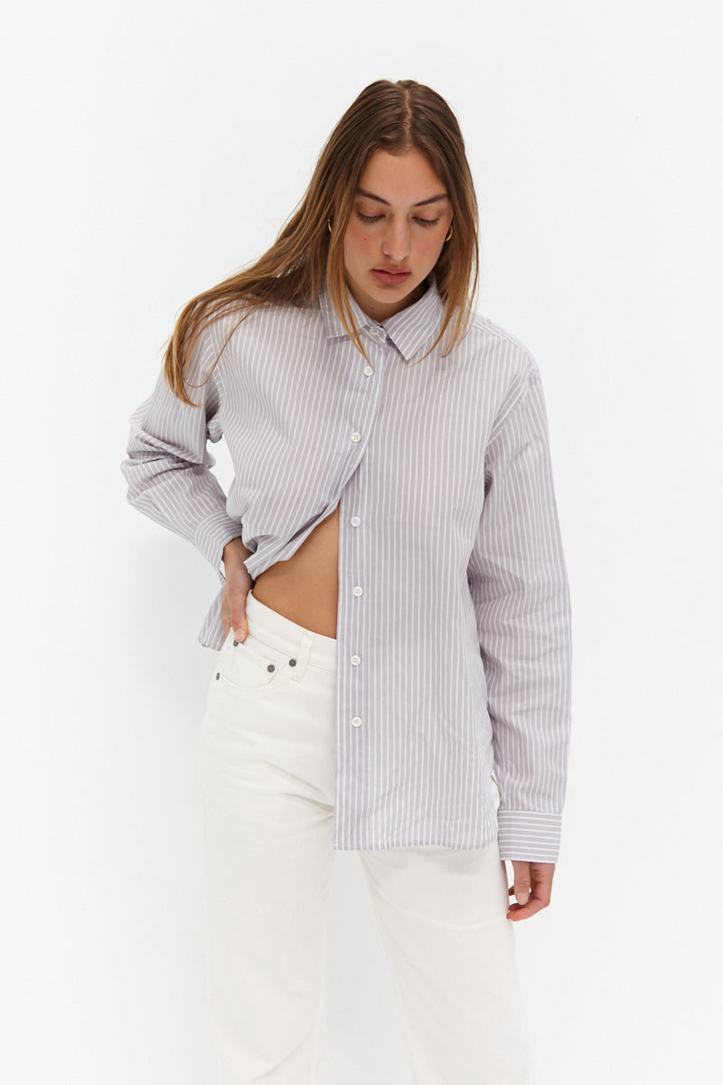 Tia Shirt - Grey Stripe