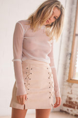 Noughts and Crosses Skirt - Beige - Style Addict