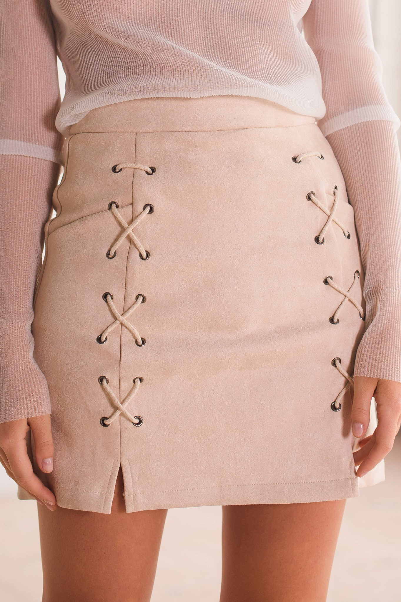 Noughts and Crosses Skirt - Beige