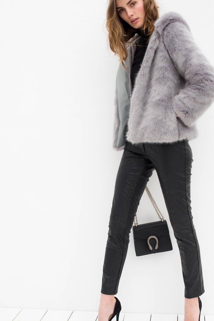 Sachi Faux Fur Hooded Jacket - Grey