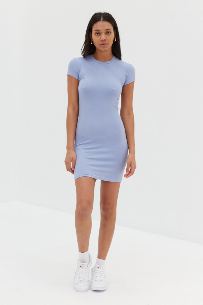 Baby Ribbed Dress - Cornflower